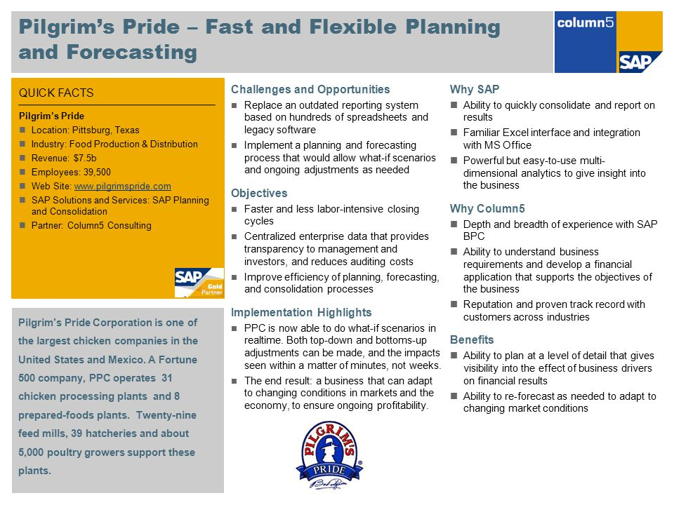 QUICK FACTS Pilgrim's Pride – Fast and Flexible Planning and Forecasting Challenges and Opportunities Replace an outdated reporting system based on hu