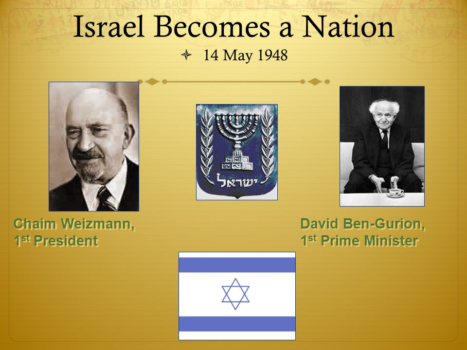 Israel Becomes a Nation  14 May 1948 David Ben-Gurion, 1 st Prime Minister Chaim Weizmann, 1 st President