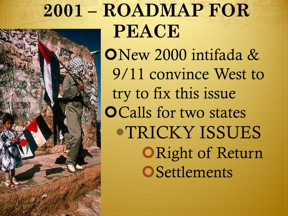 2001 – ROADMAP FOR PEACE New 2000 intifada & 9/11 convince West to try to fix this issue Calls for two states TRICKY ISSUES Right of Return Settlements