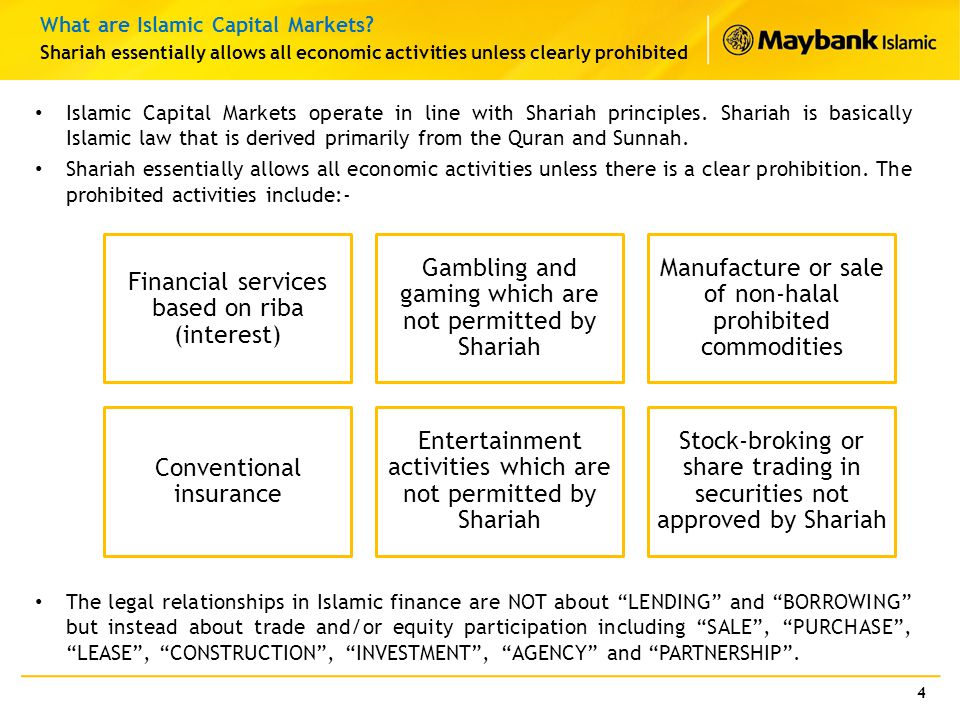 Islamic Capital Markets operate in line with Shariah principles. Shariah is basically Islamic law that is derived primarily from the Quran and Sunnah.