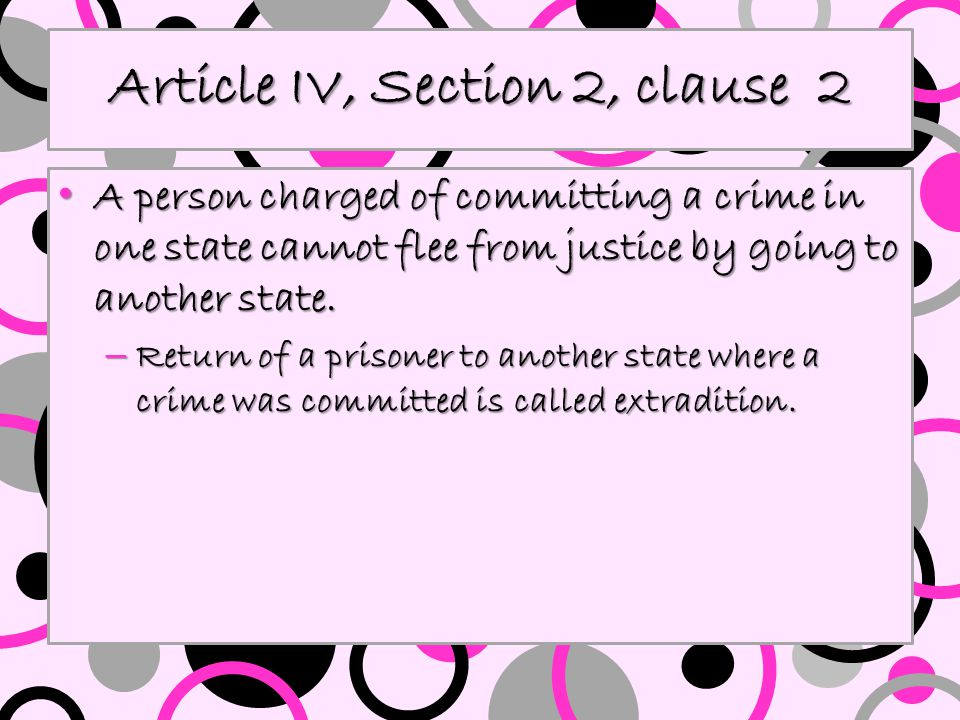 Article IV, Section 2, clause 3 Slaves and indentured servants could not become free by escaping to a free state.