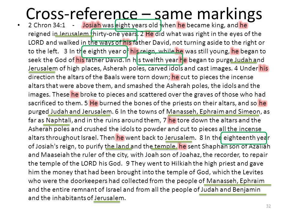 Cross-reference – same markings 32