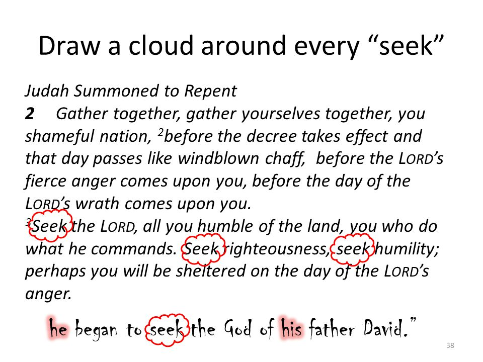 Draw a cloud around every seek 38 Judah Summoned to Repent 2 Gather together, gather yourselves together, you shameful nation, 2 before the decree takes effect and that day passes like windblown chaff, before the L ORD 's fierce anger comes upon you, before the day of the L ORD 's wrath comes upon you.