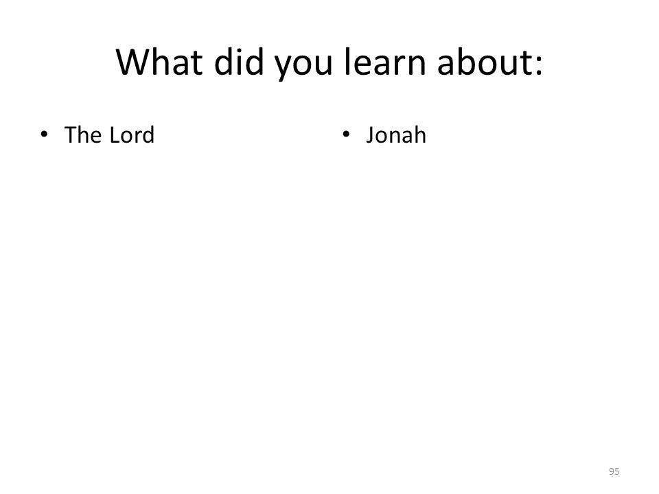 What did you learn about: The Lord Jonah 95