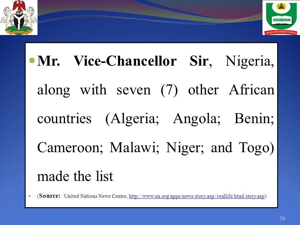 Mr. Vice-Chancellor Sir, Nigeria, along with seven (7) other African countries (Algeria; Angola; Benin; Cameroon; Malawi; Niger; and Togo) made the li