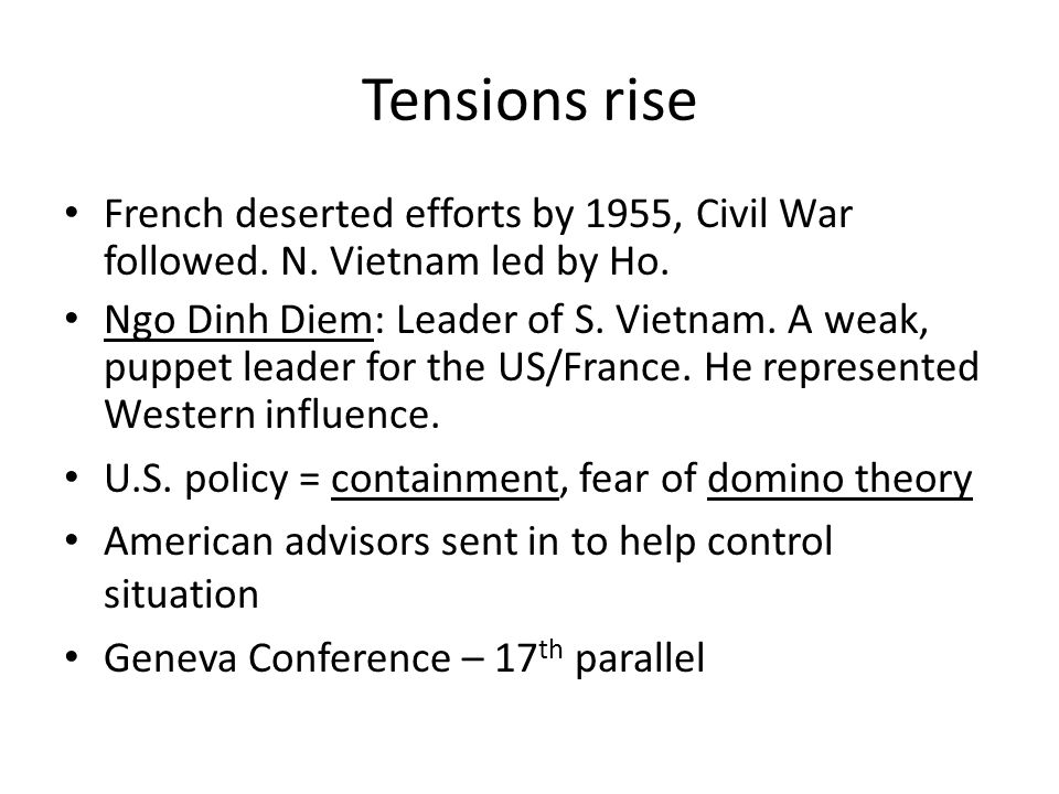 Tensions rise French deserted efforts by 1955, Civil War followed.