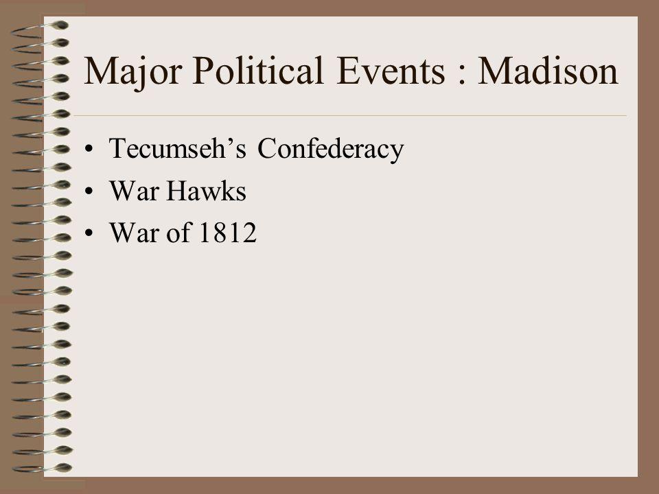 Major Political Events : Madison Tecumseh's Confederacy War Hawks War of 1812