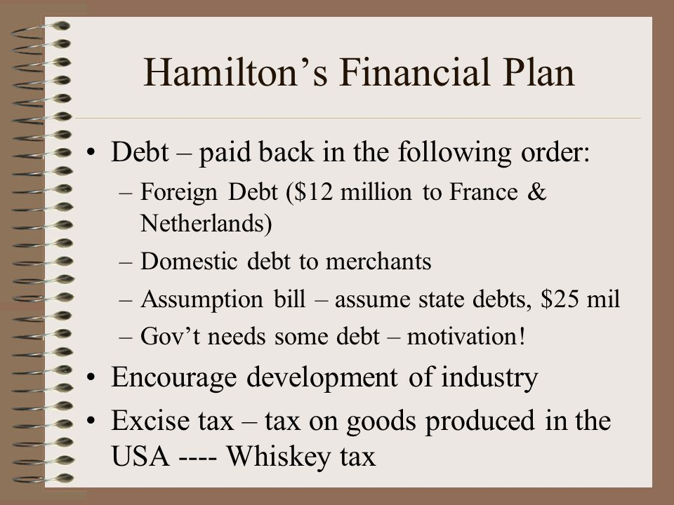 Hamilton's Financial Plan Debt – paid back in the following order: –Foreign Debt ($12 million to France & Netherlands) –Domestic debt to merchants –As