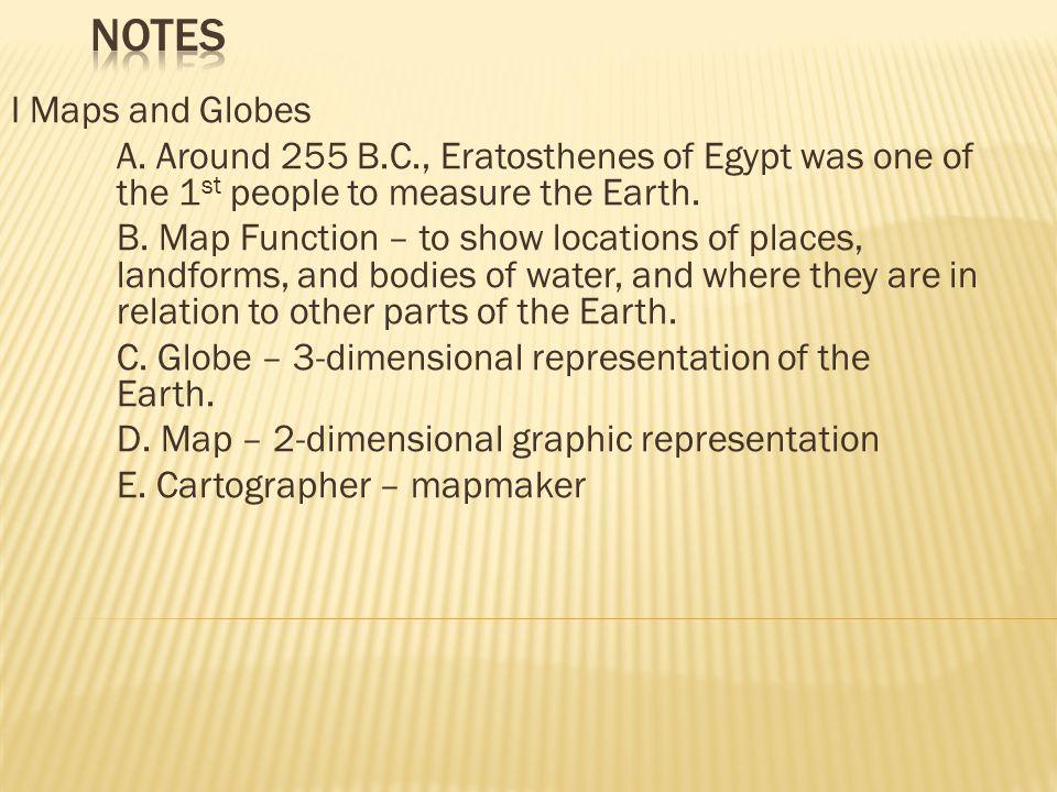 I Maps and Globes A.