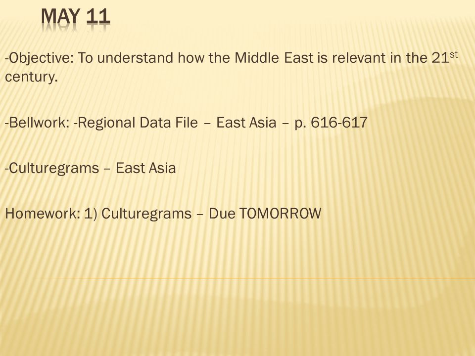 -Objective: To understand how the Middle East is relevant in the 21 st century.