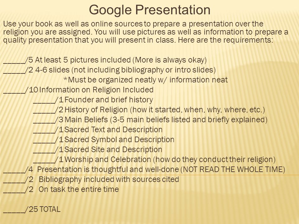 Google Presentation Use your book as well as online sources to prepare a presentation over the religion you are assigned.