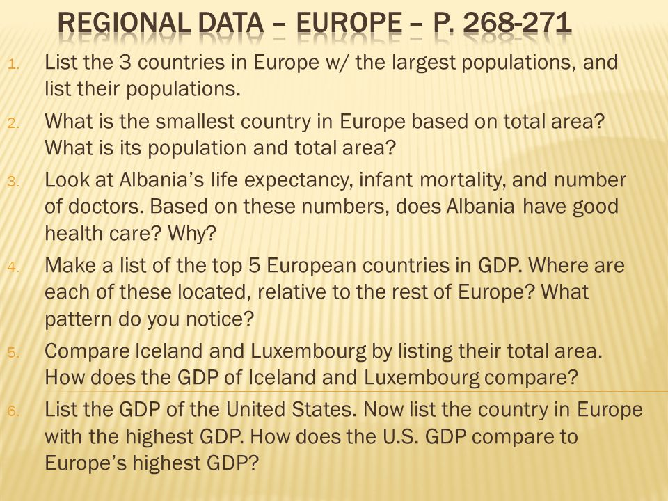 1. List the 3 countries in Europe w/ the largest populations, and list their populations.