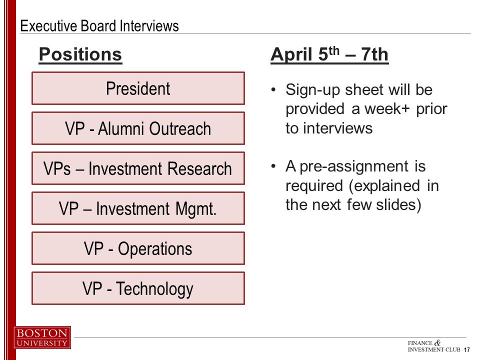 17 Executive Board Interviews President VPs – Investment Research VP – Investment Mgmt.