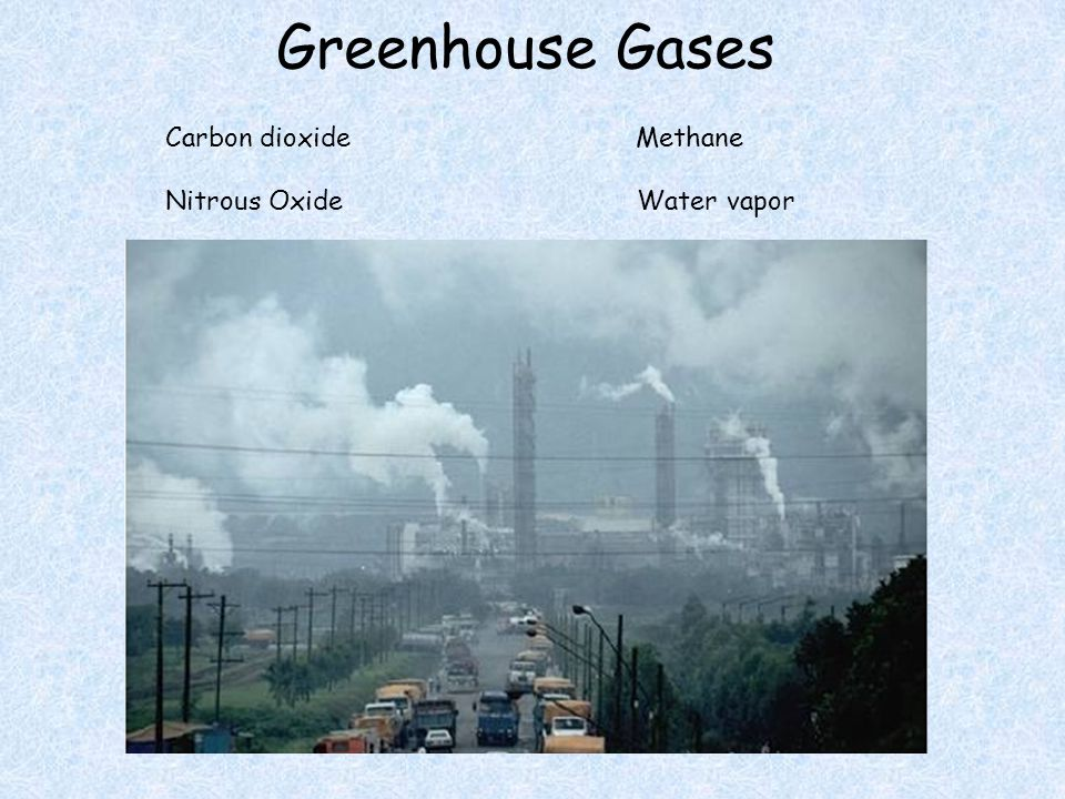 Greenhouse Gases Carbon dioxide Methane Nitrous Oxide Water vapor