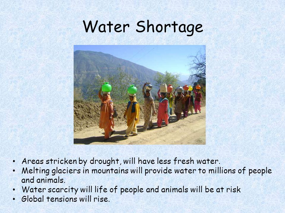 Water Shortage Areas stricken by drought, will have less fresh water.