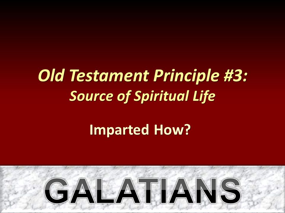 Old Testament Principle #3: Source of Spiritual Life Imparted How?