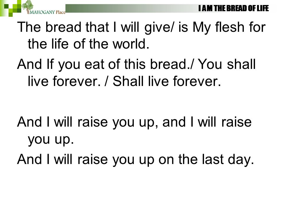 I AM THE BREAD OF LIFE The bread that I will give/ is My flesh for the life of the world. And If you eat of this bread./ You shall live forever. / Sha