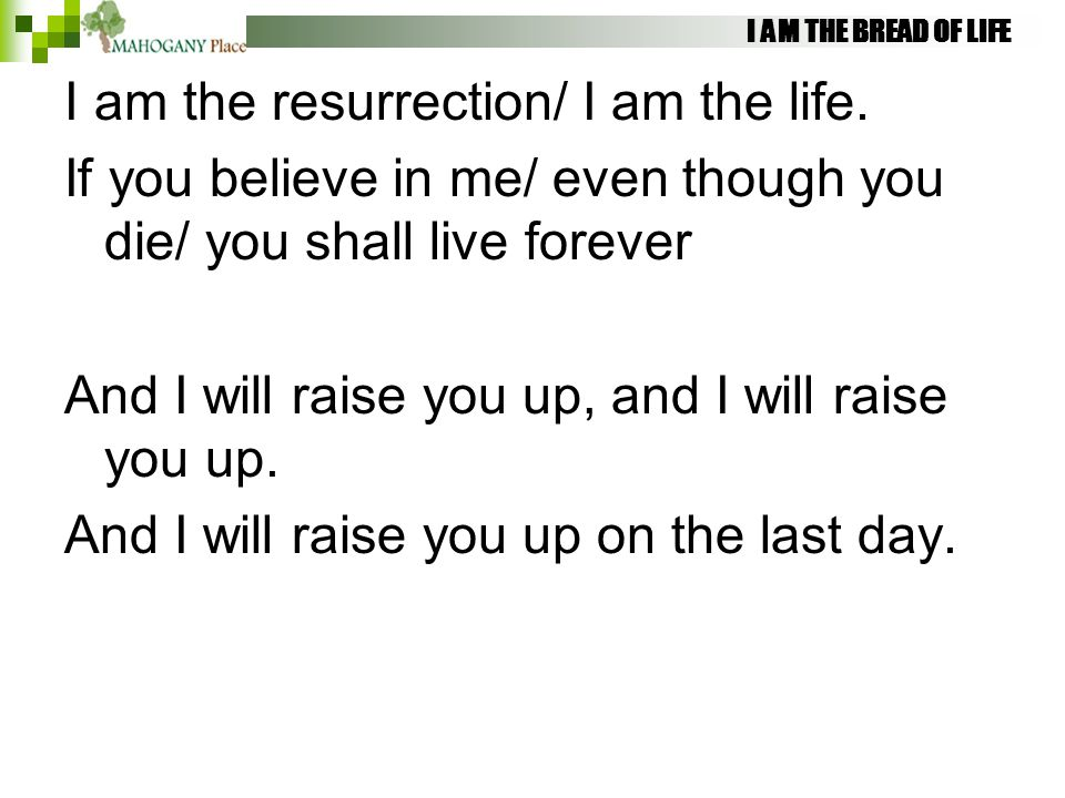 I AM THE BREAD OF LIFE I am the resurrection/ I am the life. If you believe in me/ even though you die/ you shall live forever And I will raise you up