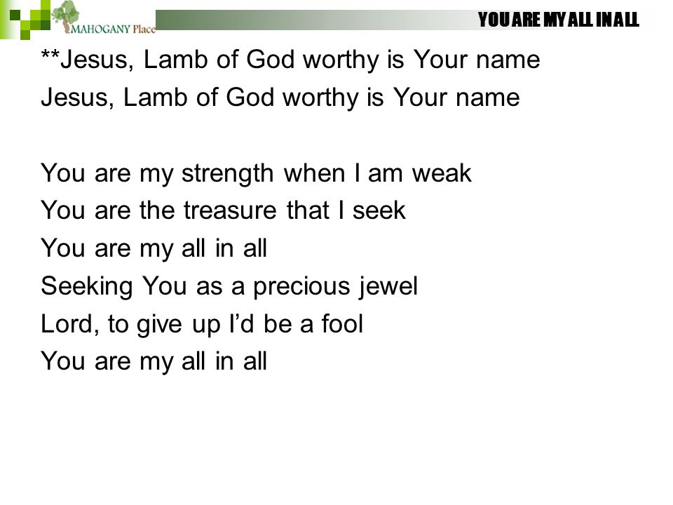 YOU ARE MY ALL IN ALL **Jesus, Lamb of God worthy is Your name Jesus, Lamb of God worthy is Your name You are my strength when I am weak You are the t