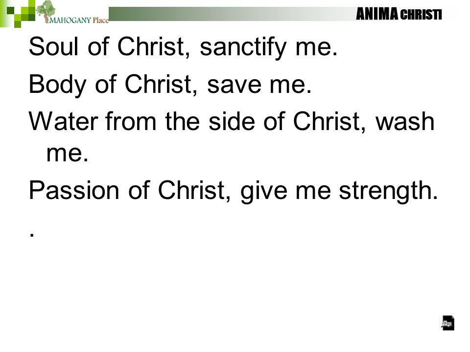 ANIMA CHRISTI Soul of Christ, sanctify me. Body of Christ, save me. Water from the side of Christ, wash me. Passion of Christ, give me strength..