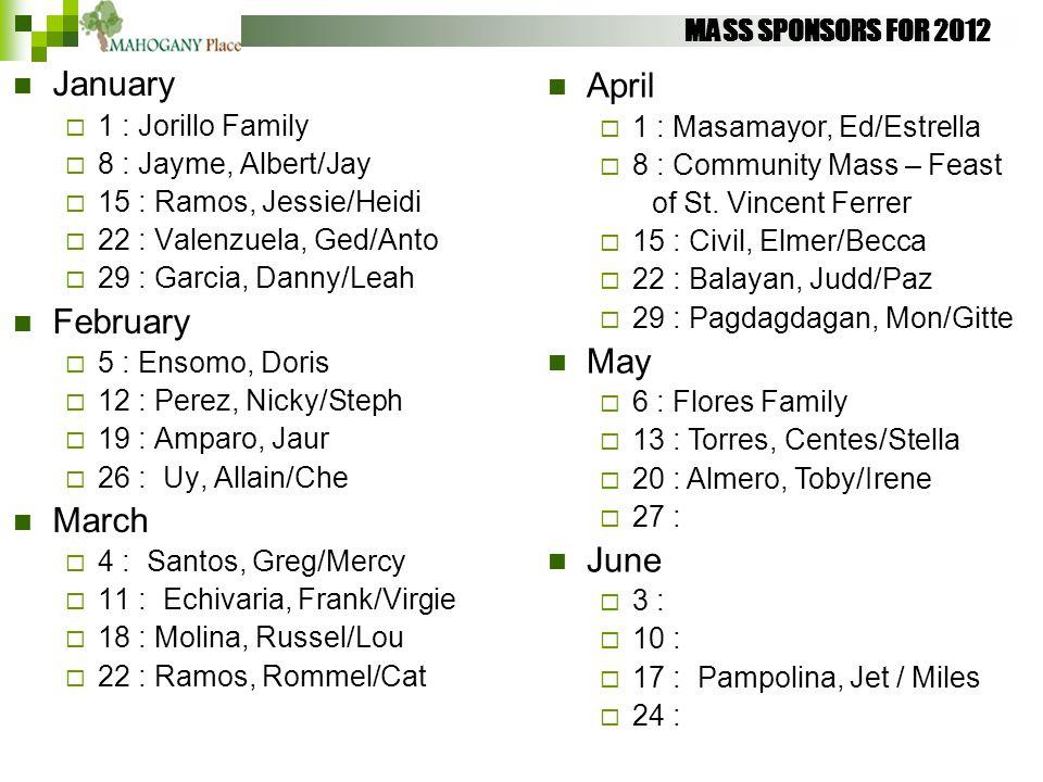 MASS SPONSORS FOR 2012 January  1 : Jorillo Family  8 : Jayme, Albert/Jay  15 : Ramos, Jessie/Heidi  22 : Valenzuela, Ged/Anto  29 : Garcia, Dann