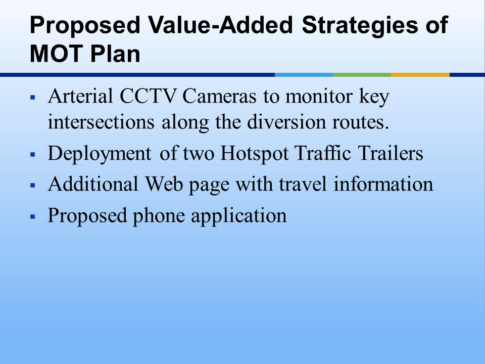  Arterial CCTV Cameras to monitor key intersections along the diversion routes.