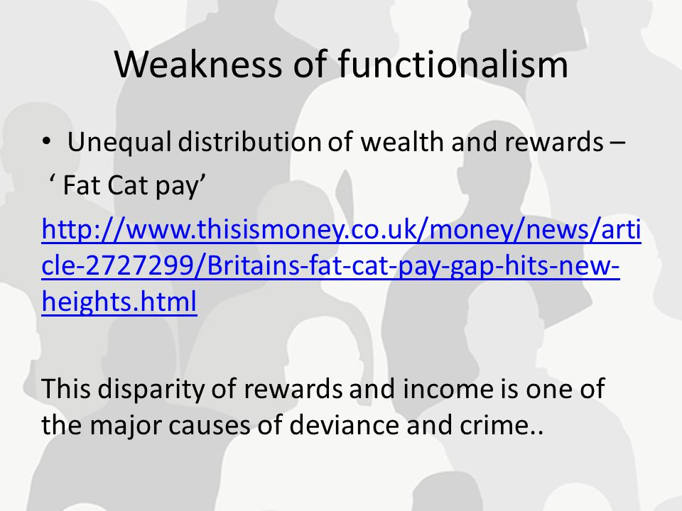 Weakness of functionalism Unequal distribution of wealth and rewards – ' Fat Cat pay' http://www.thisismoney.co.uk/money/news/arti cle-2727299/Britain