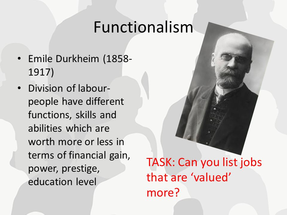 Functionalism Emile Durkheim (1858- 1917) Division of labour- people have different functions, skills and abilities which are worth more or less in te