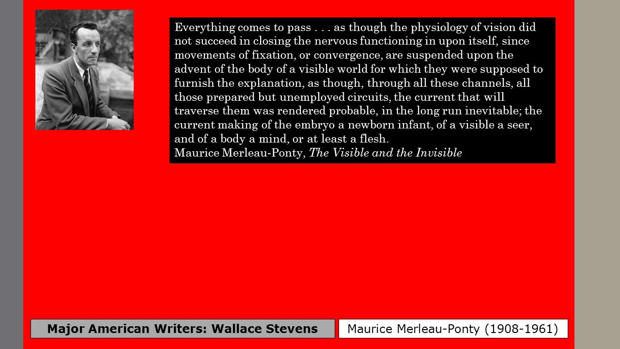 Major American Writers: Wallace Stevens Maurice Merleau-Ponty (1908-1961) Everything comes to pass...