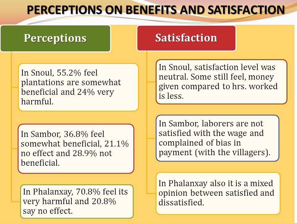 PERCEPTIONS ON BENEFITS AND SATISFACTION Perceptions In Snoul, 55.2% feel plantations are somewhat beneficial and 24% very harmful.