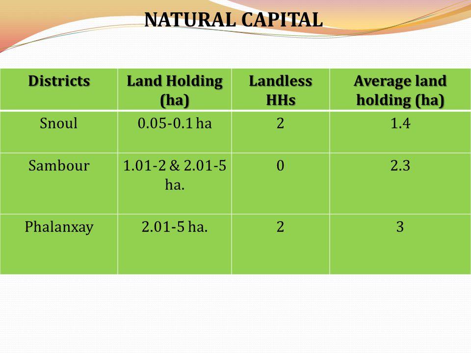 CAPITAL INDICES District Social capital Human capital Natural capital Physical capital Financial capital Snoul 0.3850.1510.6590.5510.232 Sambour 0.2580.1610.5650.7690.294 Phalanxay 0.6810.3210.6810.6760.209