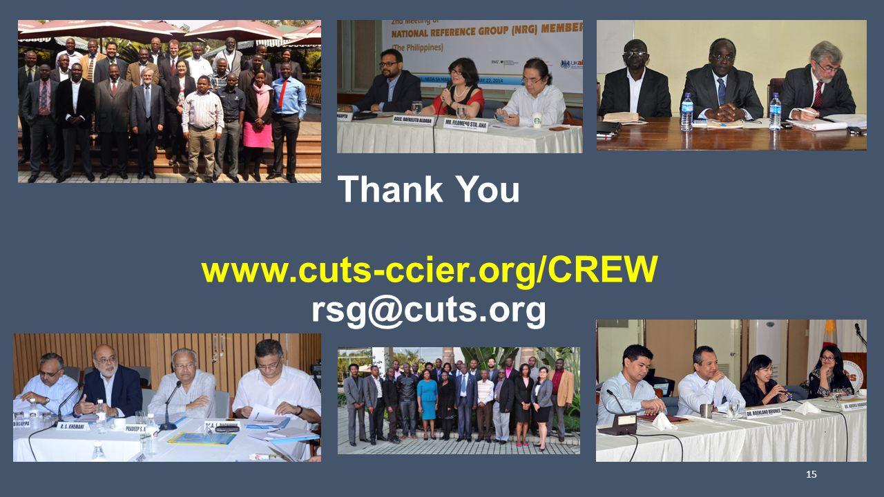 Thank You www.cuts-ccier.org/CREW rsg@cuts.org 15