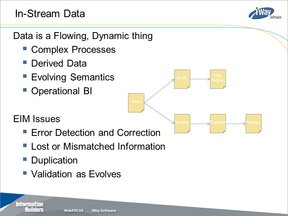 In-Stream Data Data is a Flowing, Dynamic thing  Complex Processes  Derived Data  Evolving Semantics  Operational BI EIM Issues  Error Detection