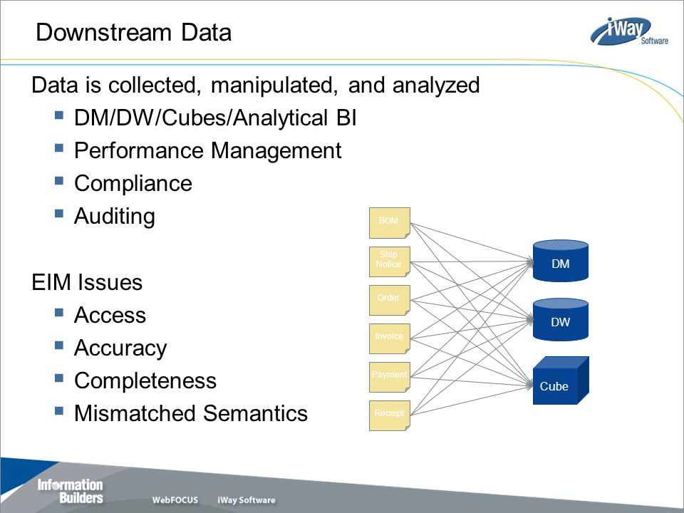 Downstream Data Data is collected, manipulated, and analyzed  DM/DW/Cubes/Analytical BI  Performance Management  Compliance  Auditing EIM Issues 