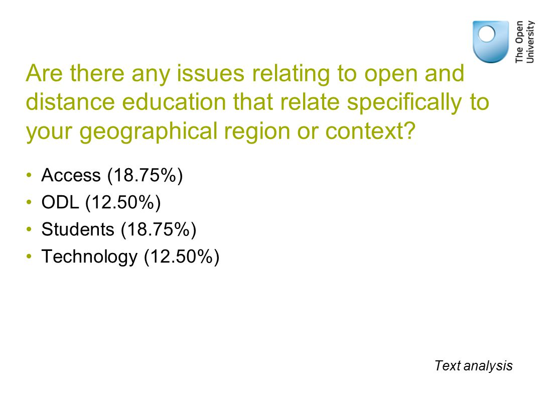Are there any issues relating to open and distance education that relate specifically to your geographical region or context.