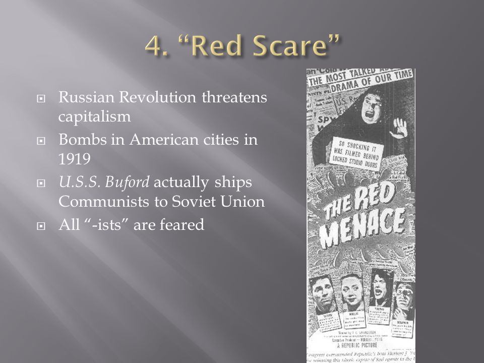  Russian Revolution threatens capitalism  Bombs in American cities in 1919  U.S.S.