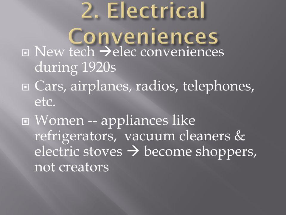  New tech  elec conveniences during 1920s  Cars, airplanes, radios, telephones, etc.  Women -- appliances like refrigerators, vacuum cleaners & el
