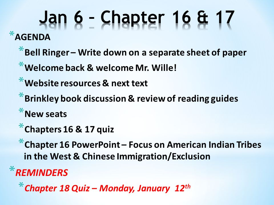 * AGENDA * Bell Ringer – Write down on a separate sheet of paper * Welcome back & welcome Mr.