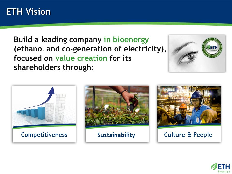 ETH Vision Sustainability Culture & PeopleCompetitiveness Build a leading company in bioenergy (ethanol and co-generation of electricity), focused on value creation for its shareholders through: