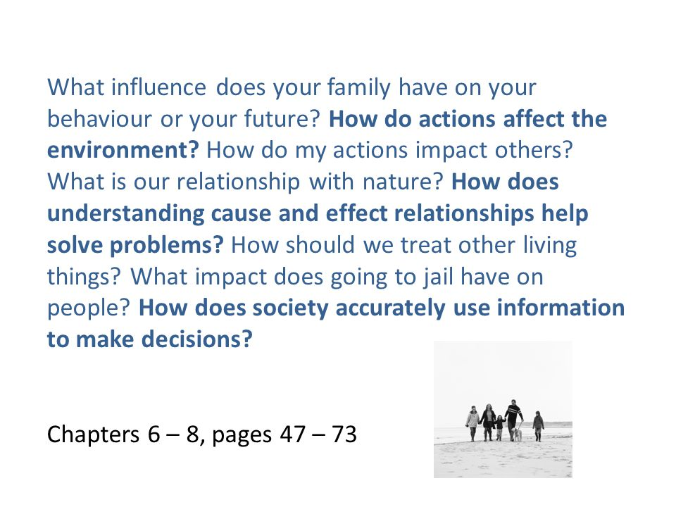 What influence does your family have on your behaviour or your future.