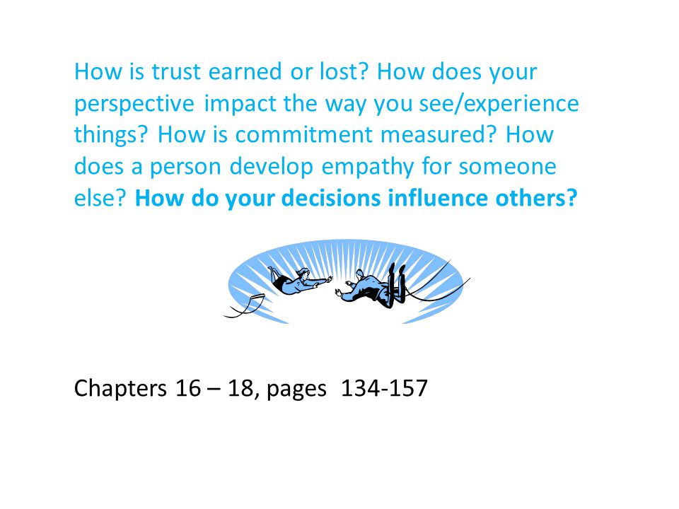How is trust earned or lost.How does your perspective impact the way you see/experience things.