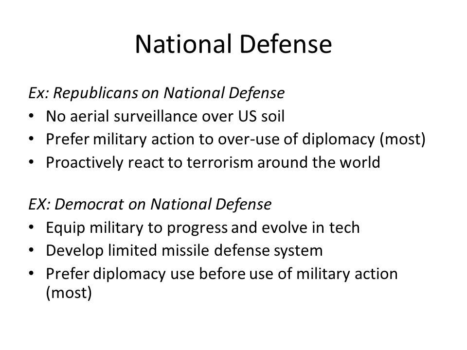 National Defense Ex: Republicans on National Defense No aerial surveillance over US soil Prefer military action to over-use of diplomacy (most) Proactively react to terrorism around the world EX: Democrat on National Defense Equip military to progress and evolve in tech Develop limited missile defense system Prefer diplomacy use before use of military action (most)