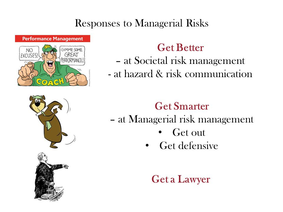 Responses to Managerial Risks Get Better – at Societal risk management - at hazard & risk communication Get Smarter – at Managerial risk management Get out Get defensive Get a Lawyer