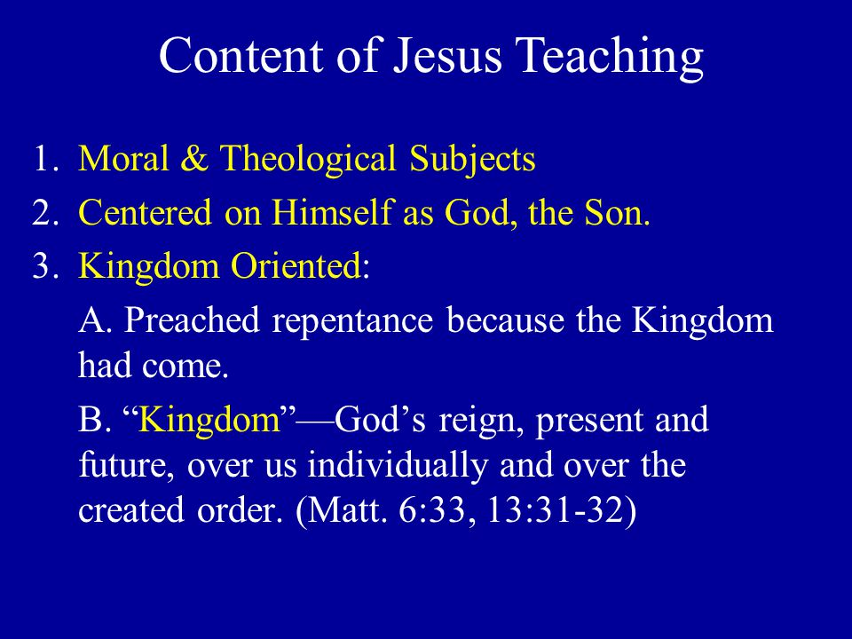 1.Moral & Theological Subjects 2.Centered on Himself as God, the Son.