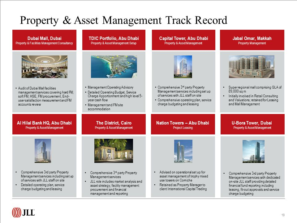 Comprehensive 3 rd party Property Management services including set up of services with JLL staff on site Comprehensive operating plan, service charge