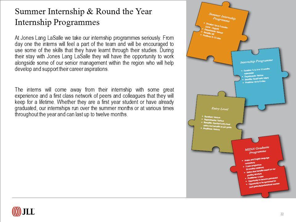 Summer Internship & Round the Year Internship Programmes At Jones Lang LaSalle we take our internship programmes seriously. From day one the interns w