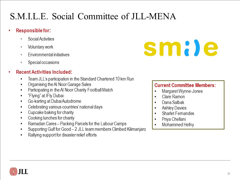 S.M.I.L.E. Social Committee of JLL-MENA Responsible for : Social Activities Voluntary work Environmental initiatives Special occasions Recent Activiti