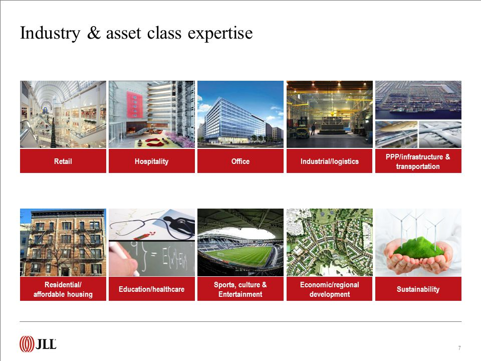 Industry & asset class expertise 7 RetailHospitalityOfficeIndustrial/logistics PPP/infrastructure & transportation Residential/ affordable housing Edu