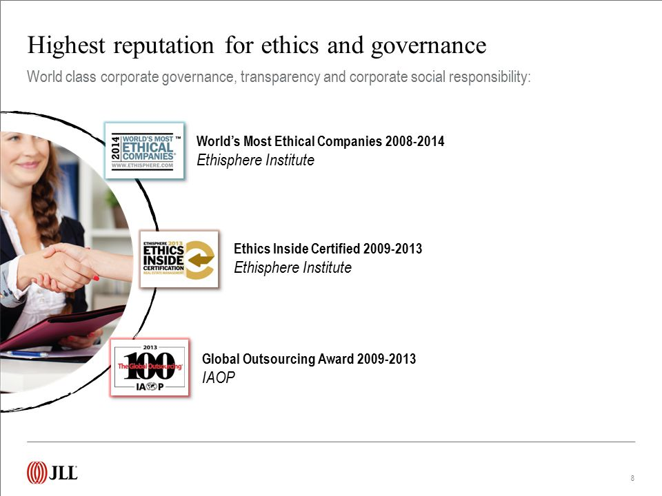 Highest reputation for ethics and governance 8 World class corporate governance, transparency and corporate social responsibility: World's Most Ethica