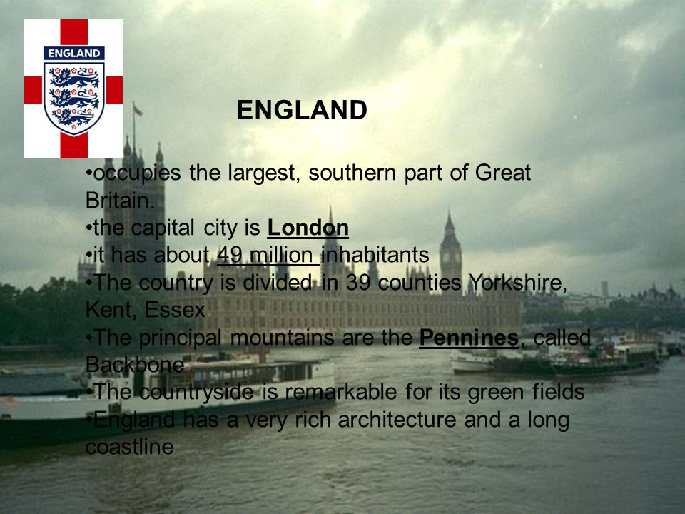 ENGLAND occupies the largest, southern part of Great Britain.